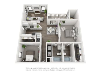 3d view of apartment floor plan in morrison colorado